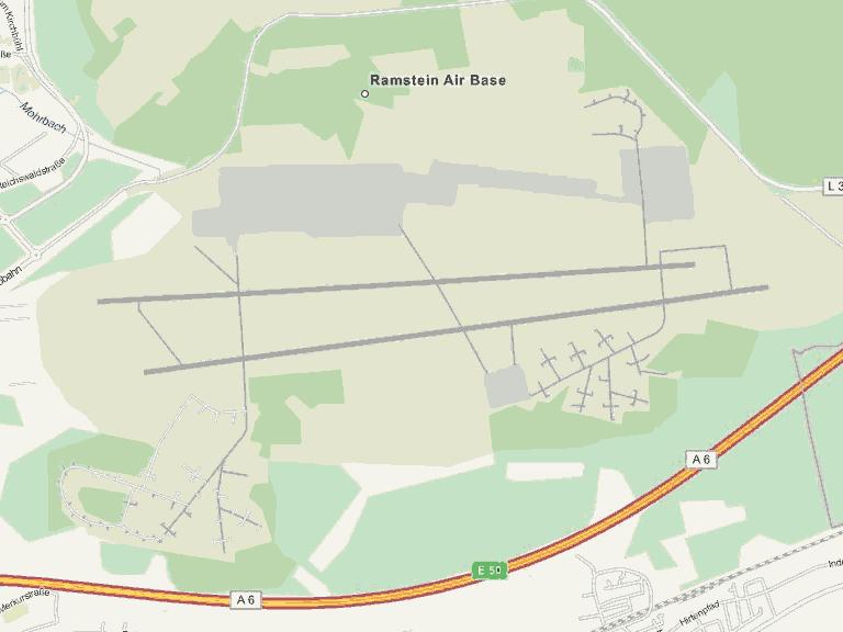 Landkarte vom Militärflughafen Ramstein.